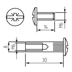 Межсекционная стяжка мелалл D=8мм, М6х29, никель Чертеж
