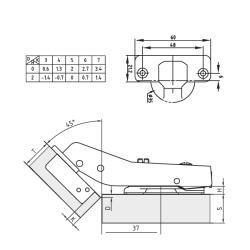 Петля FGV 45° Integra 2-Ways с доводчиком Схема установки