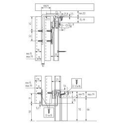 Комплект фурнитуры SLINE 35 для 2-х дверного шкафа L-1968 mm (max 35 кг) Польша Схема установки