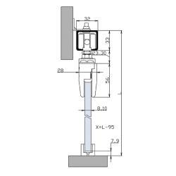 HSK-80 С Троссовая система синхронного раздвижения стеклянных дверей Схема установки