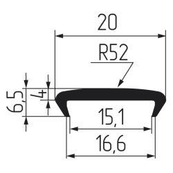 Профиль С16мм гибкий, бук фактурный (Рион) Чертеж