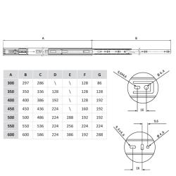 Шариковые направляющие полного выдвижения FGV 400 мм H=45мм с доводчиком (C740XC0) Присадочные размеры