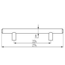 Ручка-рейлинг d=8 mm 224, мат.хром Чертеж
