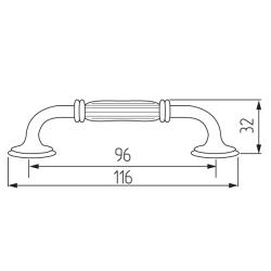 Ручка-скоба R84, 96мм, черный Чертеж