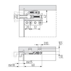 Подвеска усиленная 801.22.Z1.IN.DX (100кг), правая R, CAMAR Схема установки