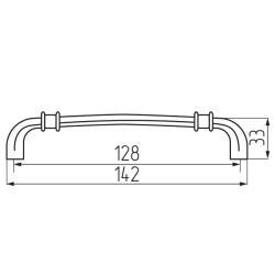Ручка-скоба R18, 128мм, черненое серебро Чертеж