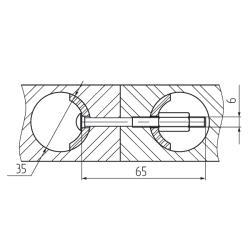 Стяжка для соединения столешниц, 65мм Установочные размеры