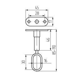 Штангодержатель на ножке 30х15, регулируемый глухой Z-028-2 хром К Чертеж