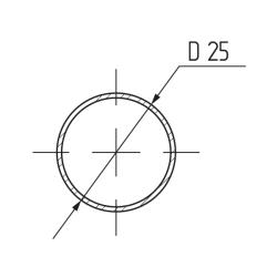 Труба d=25мм х 3,0мх 0,7мм круглая, сталь, хром  (упаковка картонная) Чертеж