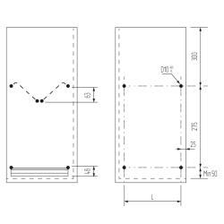 Посудосушитель 500 мм SJ304Е 465х280х65мм, нержавеющая сталь  (комплект) Схема установки