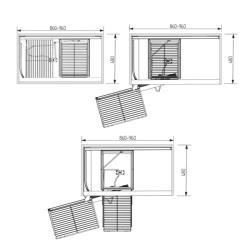 Волшебный уголок фасад 450 мм Compagnucci, серый с антискользящим покрытием левый без крепл. фасада Установочные размеры