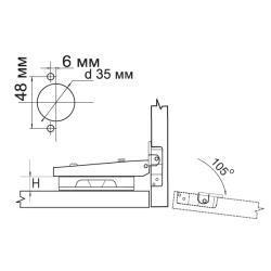Петля MF Prima-2, Clip-on накладная с доводчиком, мягкий ход Схема установки