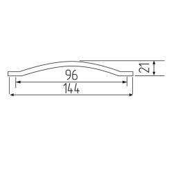 Ручка-скоба B11-96, хром+клен Чертеж