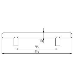 Ручка-рейлинг d=10 mm 096, мат.хром Чертеж