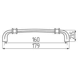 Ручка-скоба H27-160, античная бронза  Чертеж