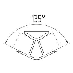 Соединение цоколя 135°(универсальное) 100мм, пластик, орех темный Чертеж