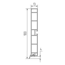 Кухонный цоколь H100мм L4м, пластик, алюминий шлифованный Чертеж