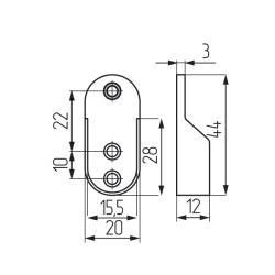 Штангодержатель алюминиевый для овальной штанги 30х15 мм, литой (12102.001) Чертеж