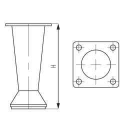 Опора 19228.100C, конус, h-98-104мм, хром Чертеж