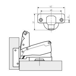 Петля FGV 175° 51AWH505005000 Integra slowmotion со встроенным доводчиком Схема установки