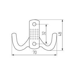 Крючок K2342 (ОН-03) 2-х рожковый, матовый никель Чертеж