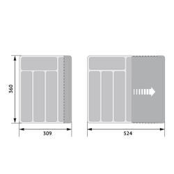 Лоток для столовых приборов раздвижной (368х310-530) Установочные размеры