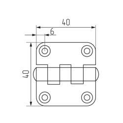 Петля карточная 40х40, цинк (ПН5-40)-(HYL4040) - Индия Чертеж