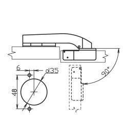 Петля 90° RDK-64D Slide-on  с доводчиком Присадочные размеры