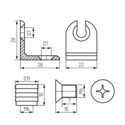 Стяжка угловая стальная, цинк  (без винта и втулки) Чертеж