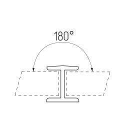 Соединение цоколя 180°, 100мм, пластик, алюминий гладкий Чертеж