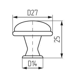 Ручка-кнопка L978-MLK-2, керамика Чертеж
