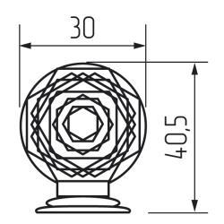 Ручка-кнопка H06, кристалл d=30 mm Чертеж