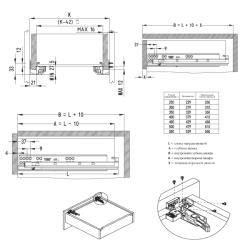 Направляющая скрытого типа EXCEL FGV 500 N665H Push to Open полного выдвижния, правая Установочные размеры