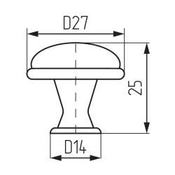 Ручка-кнопка L978-MLK-3, керамика Чертеж