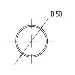 Труба d=50мм х 3 м х 0,8 мм, сталь, хром  Чертеж