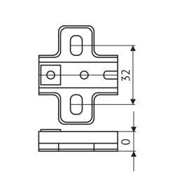 Установочная площадка FGV Genios Slide-On (0мм) саморез  Чертеж