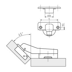 Петля FGV MS Slide-On 110° угловая 45°  Схема установки