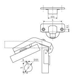 Петля FGV MS Slide-On карусельная 90°+25° Схема установки