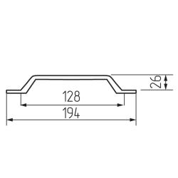 Ручка-скоба H44-128, серый жемчуг Чертеж