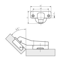 Петля MF Prima, Clip-on угловая 45° с доводчиком Схема установки