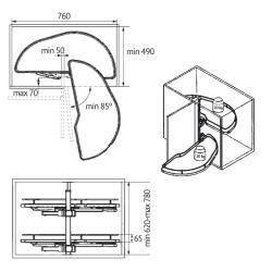 Механизм угловой GIRASOLO правый Compagnucci Установочные размеры