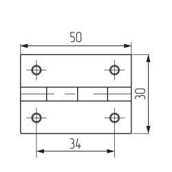 Петля карточная 50х30 (никель) - 4 отверстий - ИНДИЯ Чертеж