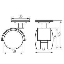 Колесная поворотная опора с площадкой d=50, 38х38х1,5 с тормозом Чертеж