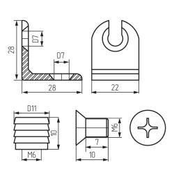 Винт для угловой стяжки (6х10 оц) ГОСТ 17475 Чертеж