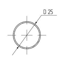 Труба d=25мм х 3,0мх 0,6 мм круглая, сталь, хром (упаковка полиэтилен) Чертеж