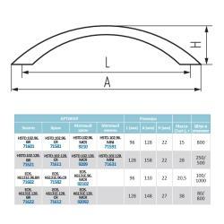 Ручка-скоба K6131E, 128мм, хром Чертеж