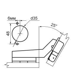 Петля 25° RDK-64AP Clip-on с доводчиком Схема установки