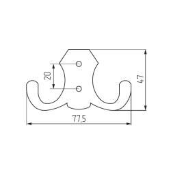 Крючок K2313 (ОН-01) 2-х рожковый,матовый хром Чертеж