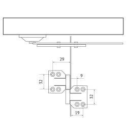 Комплект для складывающихся дверей S-45 Mepa Присадочные размеры