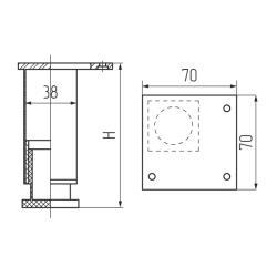 Опора 19311.150, 40х40мм, h-150-180мм, алюмин. Чертеж